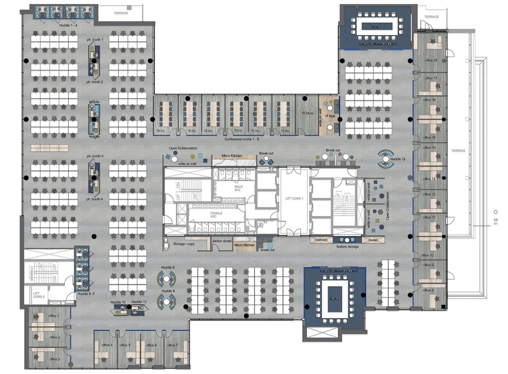 Office Rendered CAD Plan view