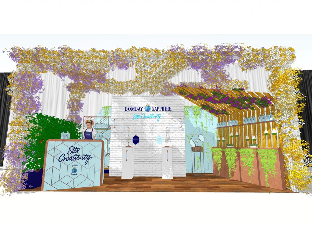 the hen house_neon_bombay sapphire_freelance Design_event stand_001